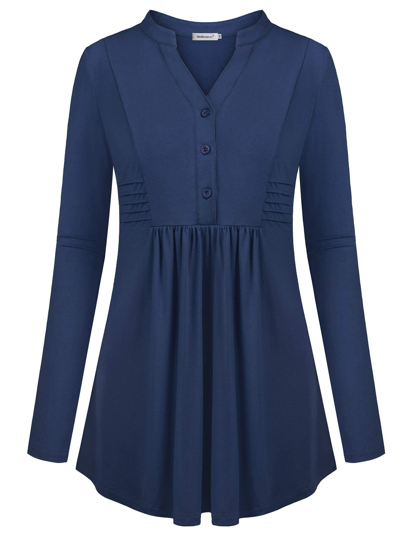 Helloacc Aline Tunic Tops for Women,Long Shirts for Plus Women Fitted Loose Tees Cowl Office Lady Suit V-Neck Ruched Slimming T-Shirt Business Casual Blouses Cutout Latest Fashion Oversized Blue 2X