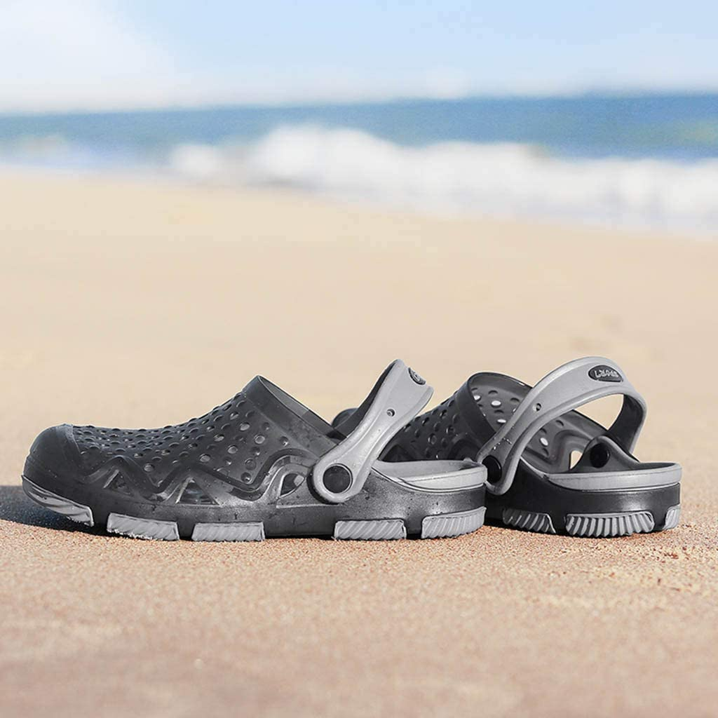 Fenleo Mens Beach Sandals Hollow Out Casual Breathable Slippers Flats Shoes Outdoor