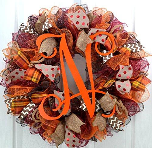 Fall Wreaths Ideas | Orange Burlap Thanksgiving Autumn Monogram Door Wreath; Maroon Brown : -