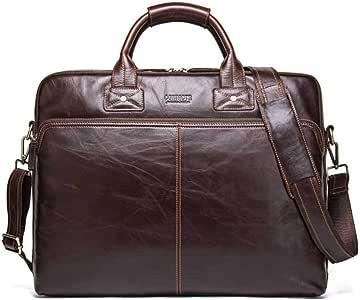 """YSDHE Men's Leather Satchel Large Briefcase Genuine Satchel Shoulder Business Bag Vintage Crossbody 17""""Laptop Handbag Brown"""