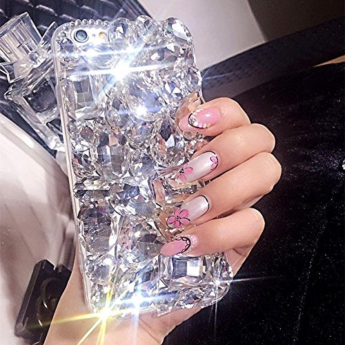 Rhinestone Bling Cover Diamond (PHEZEN iPhone 8 Plus Case,iPhone 7 Plus Case, 3D Handmade Luxury Bling Crystal Rhinestone Diamond Glitter Case,[Hard PC Back, Soft TPU Bumper] Protective Case Cover for iPhone 7/iPhone 8 Plus, Clear)