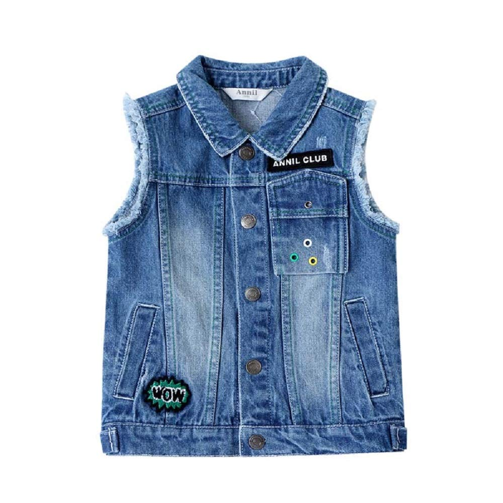 Annil Boys Denim Vest Kid's Gilet for 2 to 14 Years 100% Cotton (130) by Annil