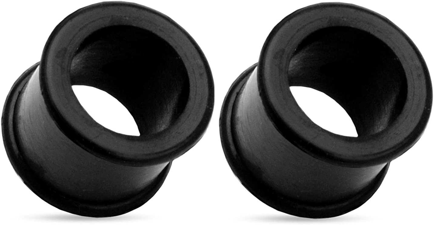 Ultra Soft Black Flexible Silicone Double Flared Tunnel Plugs - Sold as a Pair - Available in Multiple Sizes