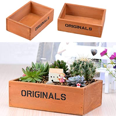 Wooden Plant Seeds Box, Indoor Outdoor Windowsill Kitchen Garden Herb/Flower Succulent Planter Plant Container Box Trough Pack of 2 (Rectangular B) : Industrial & Scientific