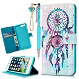 MOLLYCOOCLE iPhone 7 Plus, iPhone 8 Plus Case,3D Relief Bling Glitter Pattern Wallet Case PU Leather Soft TPU Inner Bumper Protective Case for iPhone 7 Plus, iPhone 8 Plus, Blue Feather Dream Catcher