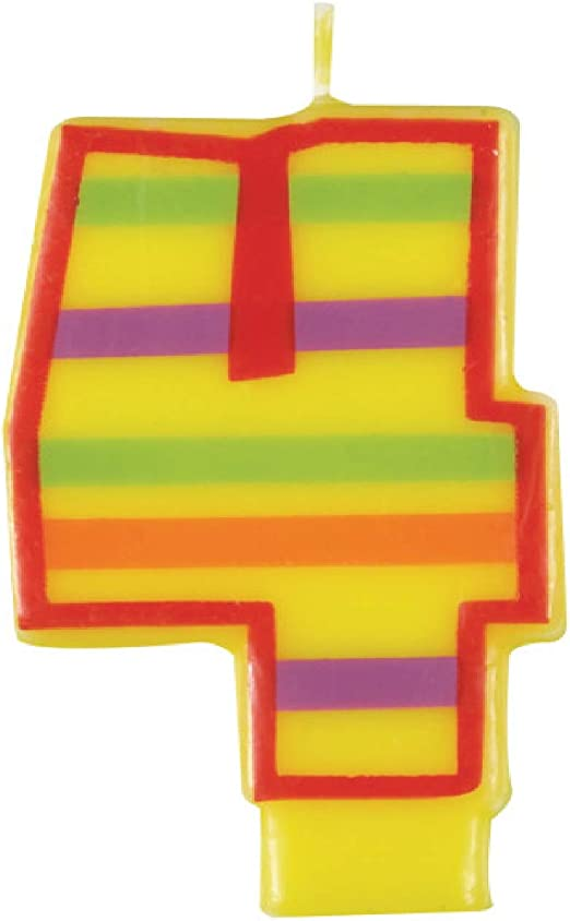 Amazon.com: Vela decorativa de cumpleaños a rayas., Número 4 ...