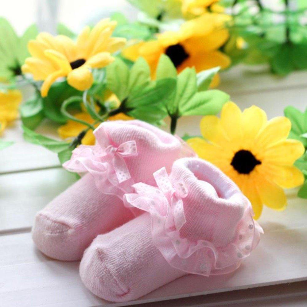 Baohooya Chaussettes Bebe Fille 0-6 Mois Dentelle Bowknot Antid/éRapante Automne Hiver C/éR/éMonie Bapt/êMe Chic Naissance Sock Bottes Pantoufle Chaussettes De Sol
