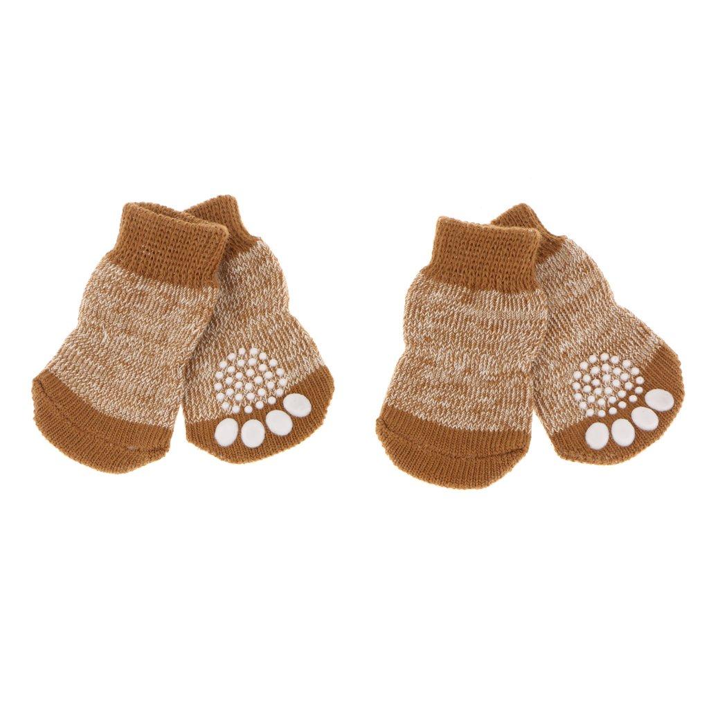 Sharplace 4pcs Chaussures pour Chien Chat Chiot Chaussettes Chauffages Antidérapantes pour Animaux de Compagnie - S