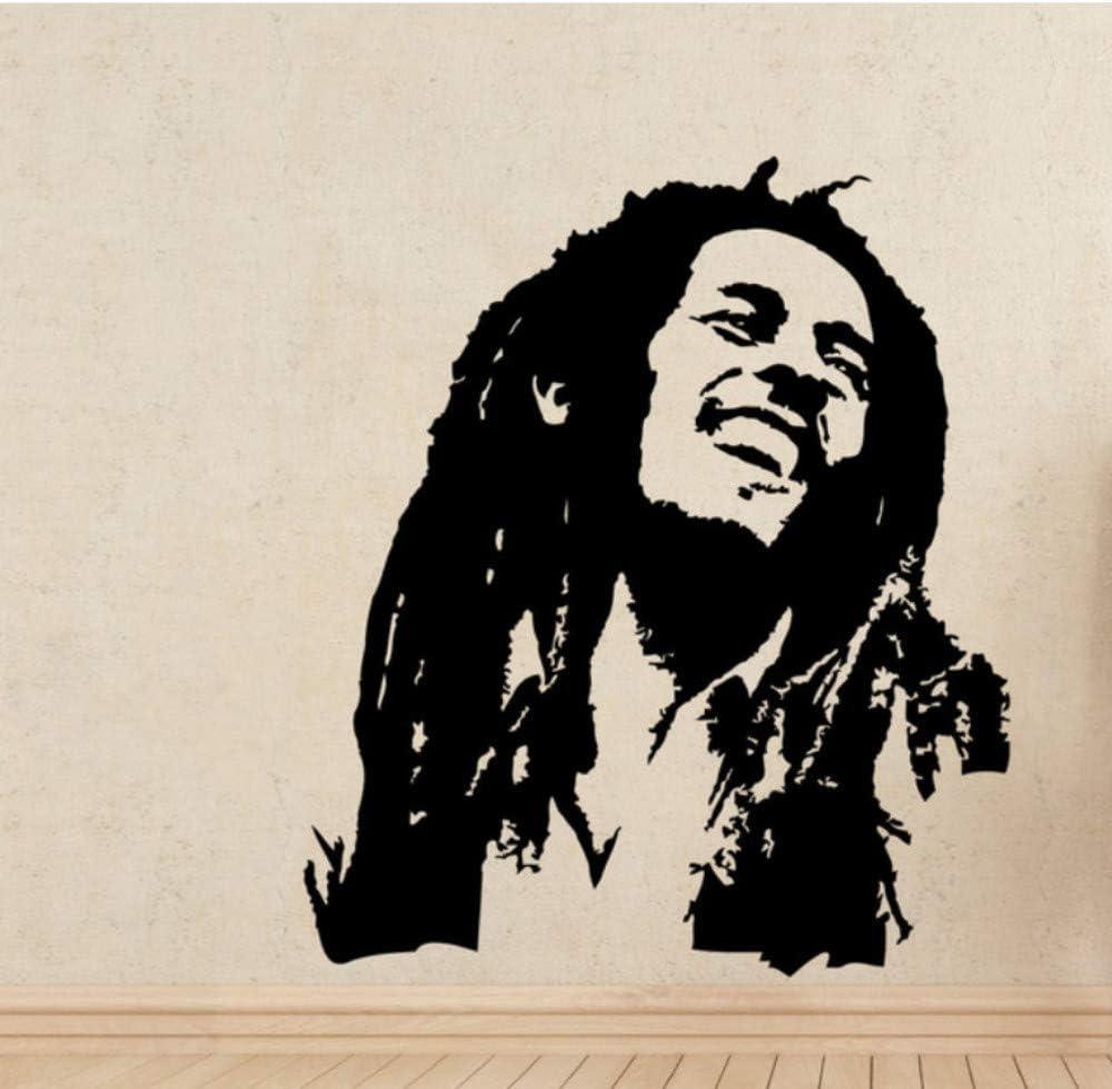 Fcsjyxwj Musik Wandtattoos Bob Marley Reggae Rasta Jamaika Große Vinyl Transfer Schablone Aufkleber Wandkunst Home Room Dekorative 56x65 Cm Küche Haushalt