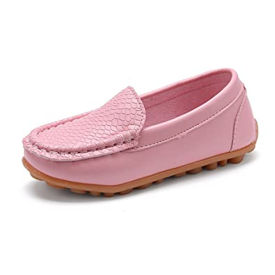 L-RUN Boys Girls Leather Loafer Shoes Durable for Preschool//Newly Walking