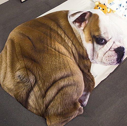 3D Animal Prints Blanket Bedding Dog Shaped Summer Quilt Bulldog Comforter Washable Light Quilt by Getime (Image #3)