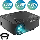 Projector, ELEPHAS Upgraded LED Source 2000 Luminous Flux (lm) Projector Multimedia LED Mini Video Projector for Home Theater Support 1080P PC Laptop PS4 Phones Xbox and TV Box etc, Black