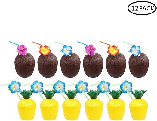 Hamkaw 12 Piezas Tazas en Forma de Coco de Plástico Luau Hawaiana ...