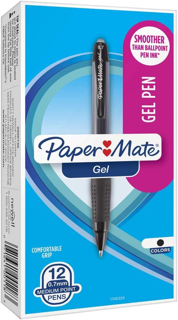 12 x Paper Mate Star Gels Stick GEL Ballpoint Pen Blue Medium NEW