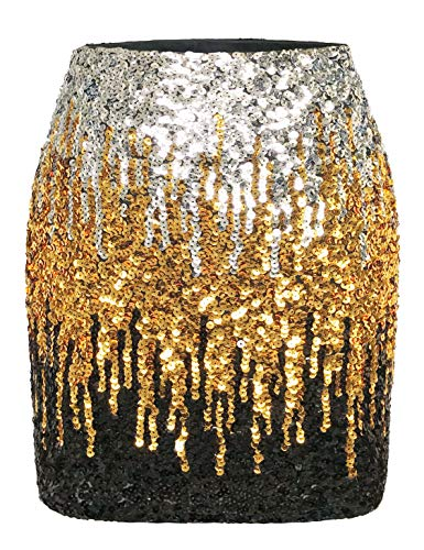 MANER Women's Sequin Skirt Sparkle Stretchy Bodycon Mini Skirts Night Out Party (L / US12-14, Silver/Gold/Black)]()