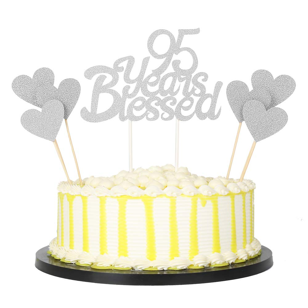 PALASASA 6pc Silver Love Star And Single Sided Glitter 95 Years Blessed Cake Topper For Happy 95th Birthday