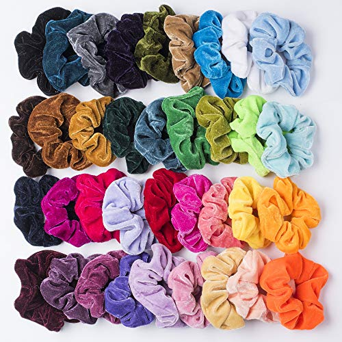 36 Pcs Premium Velvet Hair Scrunchies Hair Bands Scrunchy Hair Ties Ropes Ponytail holder for Women or Girls Hair Accessories (36 Pcs Korean VelvetHair - Urban Pastel