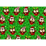 "Christmas Owl Jumbo Roll Gift Wrap Paper ""Christmas Hoot"""