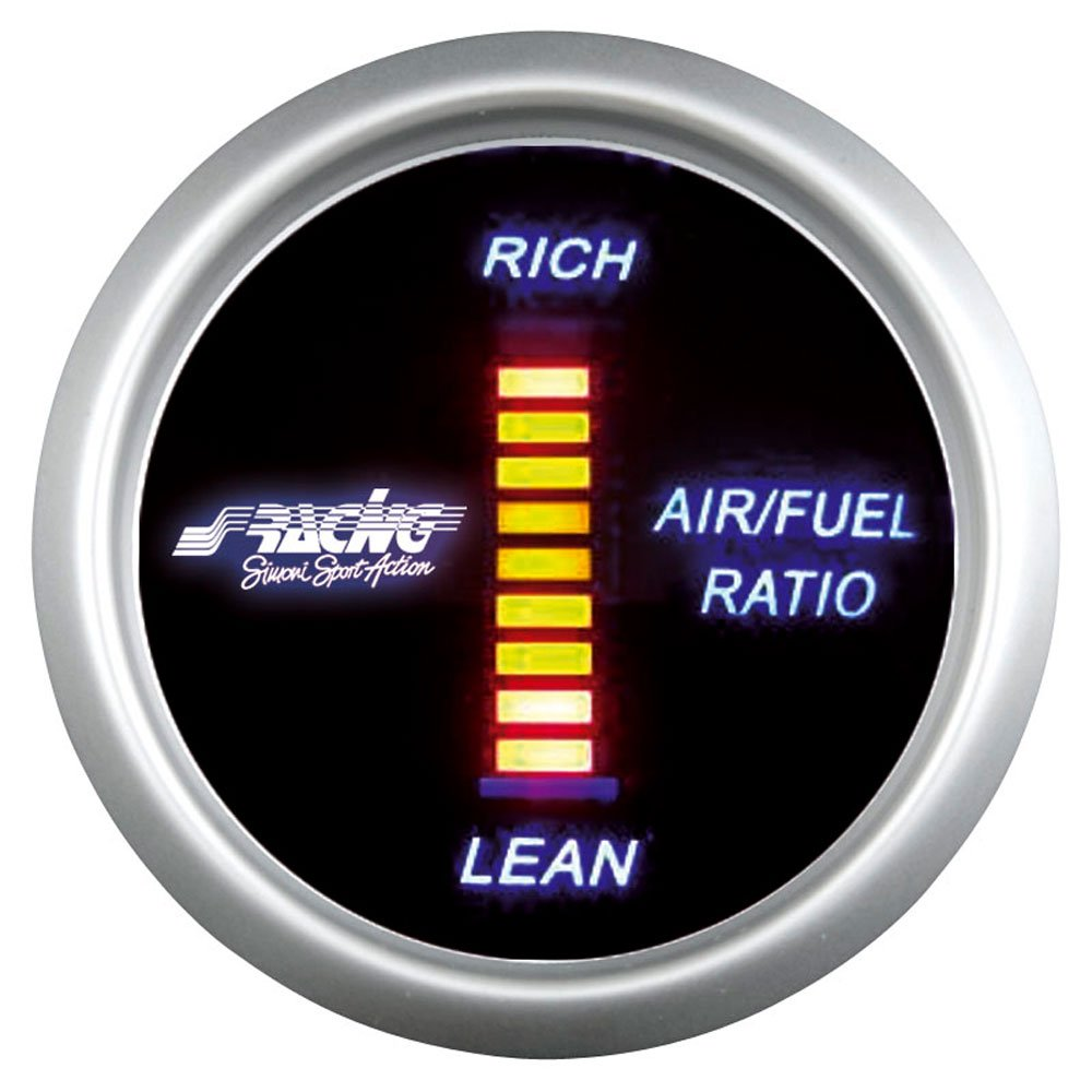 Simoni Racing Afr/D Digital Air-fuel Ratio Gauge, fondo negro