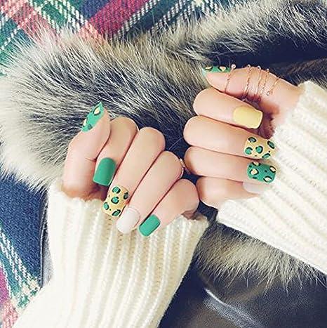 24 unidades / Set de uñas falsas 3D con pegamento de punta media envuelta, uñas postizas artificiales para uñas, herramienta de arte: Amazon.es: Belleza
