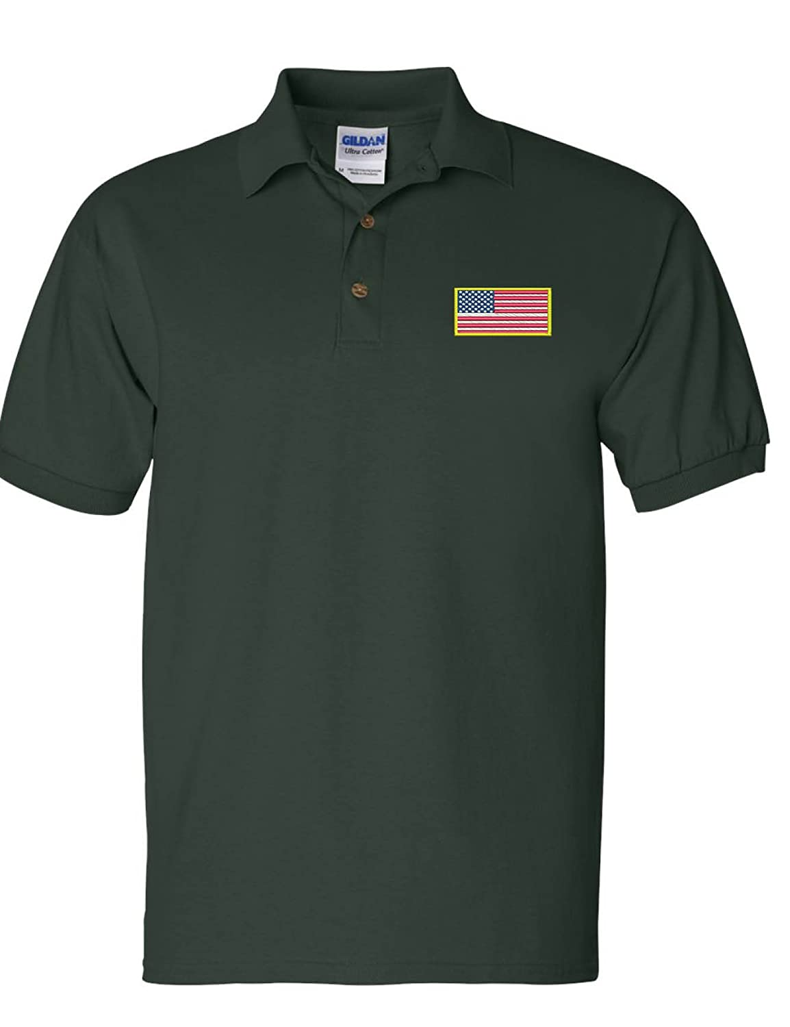 Allntrends Mens Polo T Shirt Embroidery USA Flag Embroidered America Shirt Gift