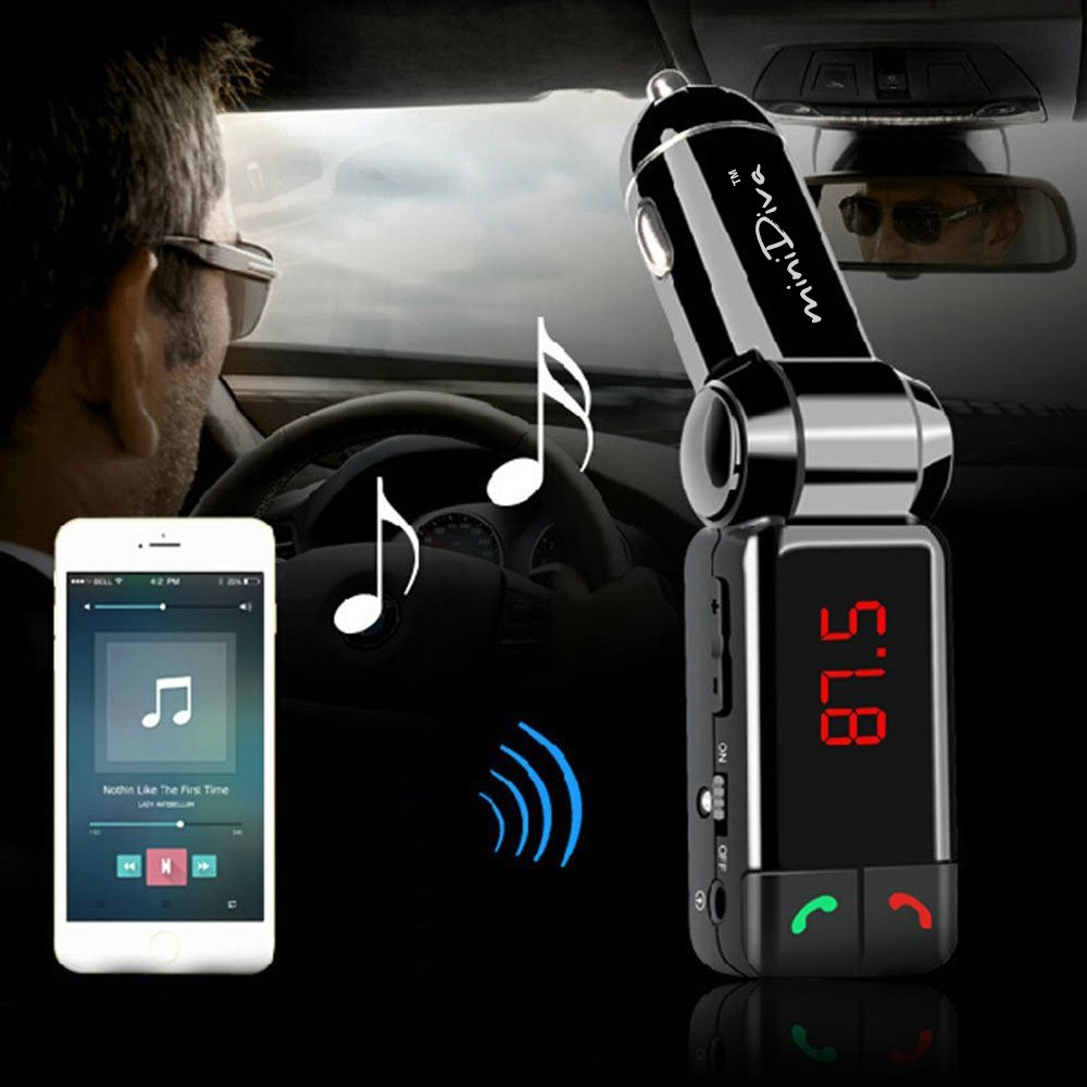 Amazon com minidiva 5in1 car bluetooth fm transmitter wireless for car with dual usb charging card reading aux input music control and hands free