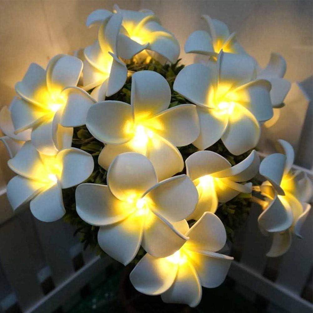 Plumeria String Lights, Fantasee Foam Artificial Plumeria Flower Led String Lights Battery Operated Fairy Lights for Bedroom Home Wedding Hawaiian Luau Party Decor (9.8ft 20LED, Warm White)