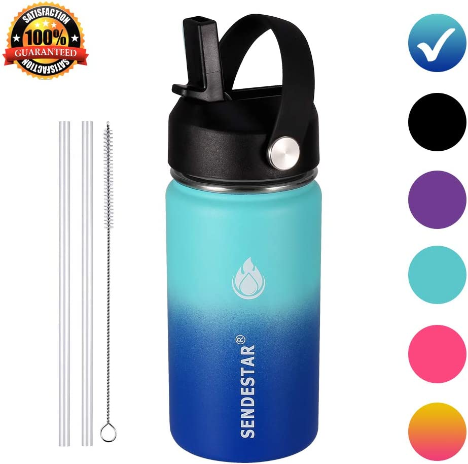 SENDESTAR Stainless Steel Water Bottle-12oz,24oz, 40oz or 64oz with New Straw Lid and Spout Lid, Keeps Liquids Hot or Cold with Double Wall Vacuum Insulated Sweat Proof Sport Design (12 oz-Ocean)