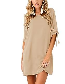 BienBien Donna Vestito da Giorno Eleganti Estivi Corti Abito Manica 3 4  Camicia Vestiti Sottile 7107a7ba08a