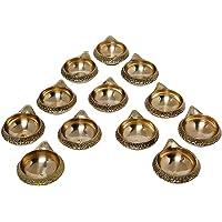E-Handicrafts Brass kuber Diyas (5 x 4.5 x 2 cm,Glossy golden) - Pack of 12