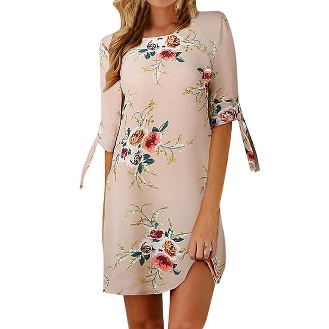 bfdae35ab94f Rcool Vestito Donna Elegante Stampa Floreale Abito Manica Corta Girocollo  con Stampa di Moda  Amazon.it  Abbigliamento
