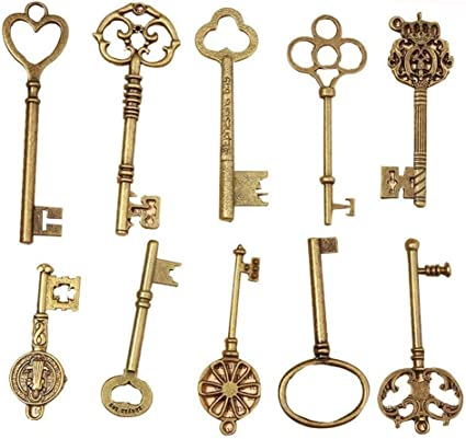 Large Key Pendant Skeleton Key Pendant Antiqued Bronze Big Skeleton Key 82mm