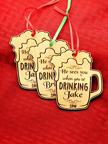 Personalized Christmas Ornament- He Sees You When You're Drinking - - History Timeline Sunglasses