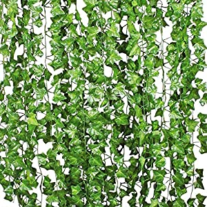 Benvo 12 Pack (84 Ft) Fake Ivy Artificial Leaves Real-Looking Greenery Hanging Garlands Vine Plants Life-Like Foliage Leaf for Party Wedding Garden Kitchen Home Office Wall Stair Swing Decoration 1