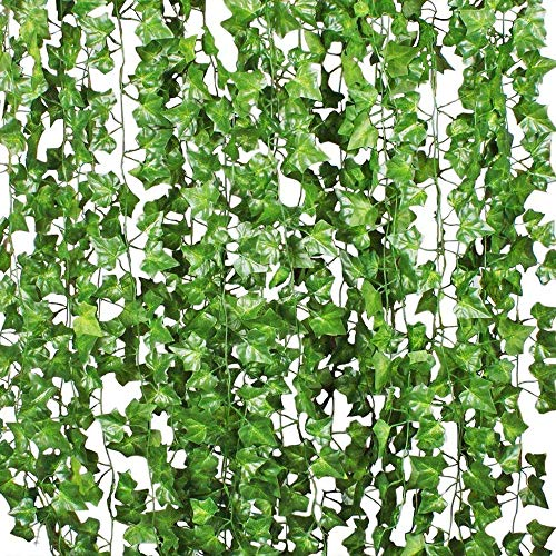 Benvo 12 Pack (84 Ft) Fake Ivy Artificial Leaves Real-Looking Greenery Hanging Garlands Vine Plants Life-Like Foliage Leaf for Party Wedding Garden Kitchen Home Office Wall Stair Swing Decoration