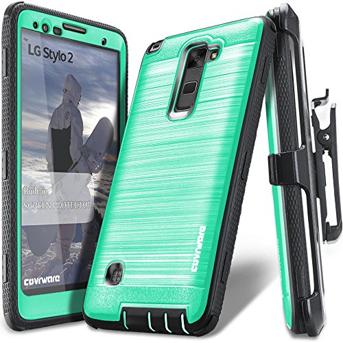 LG Stylo 2 /LG Stylo 2 Plus/LG Stylo 2 V, COVRWARE [Iron Tank] Built-in [Screen Protector] Heavy Duty Full-Body Rugged Holster Armor [Brushed Metal Texture] Case [Belt Clip][Kickstand], Teal