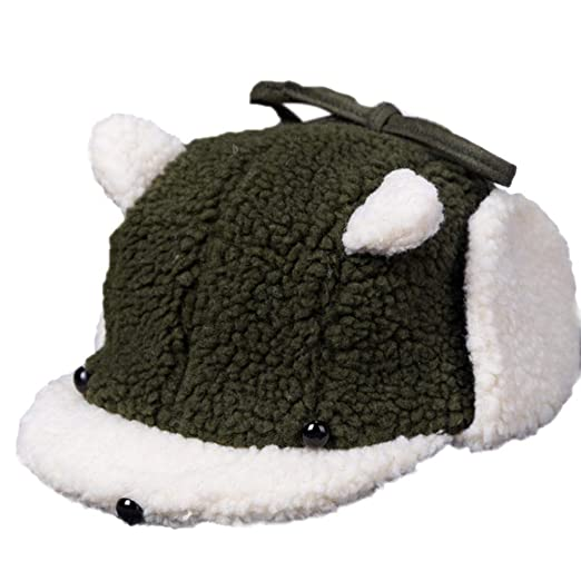 fb00b04cbc58 Amazon.com  Baby Beanie Hat Cartoon Dog Plush Sherpa Hats Winter Earflap  Caps Warm 1-3 Years Toddler Newborn Kids Baby Girl Boy (Army Green