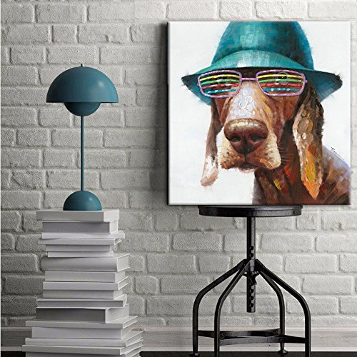 SEVEN WALL ARTS - 100% Hand Painted Oil Painting Animal Cute Dog Wears Colorful Glasses with Stretched Frame 24 x 24 Inch by SEVEN WALL ARTS (Image #4)