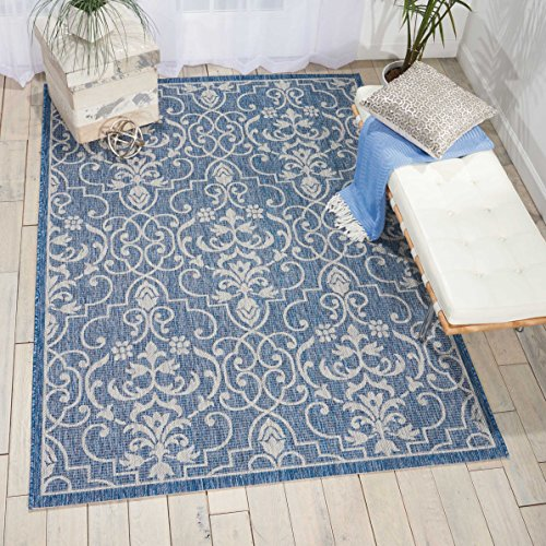 Nourison Garden Party GRD04 Denim Indoor/Outdoor Area Rug 5 Feet 3 Inches by 7 Feet 3 Inches, 5'3
