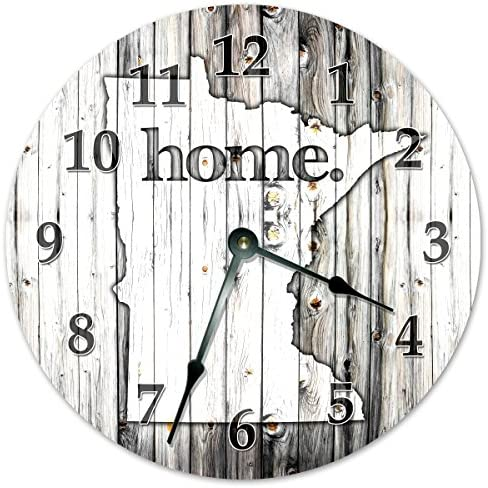 Sugar Vine Art Minnesota State Home Non Ticking Round Battery Operated Handmade Hanging Large 15.5 Inch Wall Clock