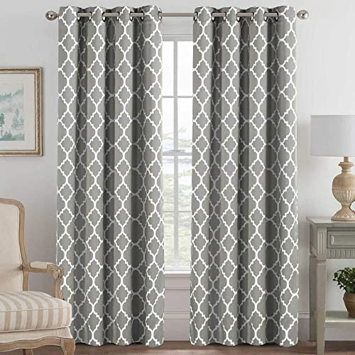 H.VERSAILTEX Blackout Curtains for Living Room Bedroom Thermal Insulated Energy Saving Grommet Window Curtain Drapes 2 Panels Geometric Moroccan Printed Draperies, Dove and White, 52 by 96 Inch