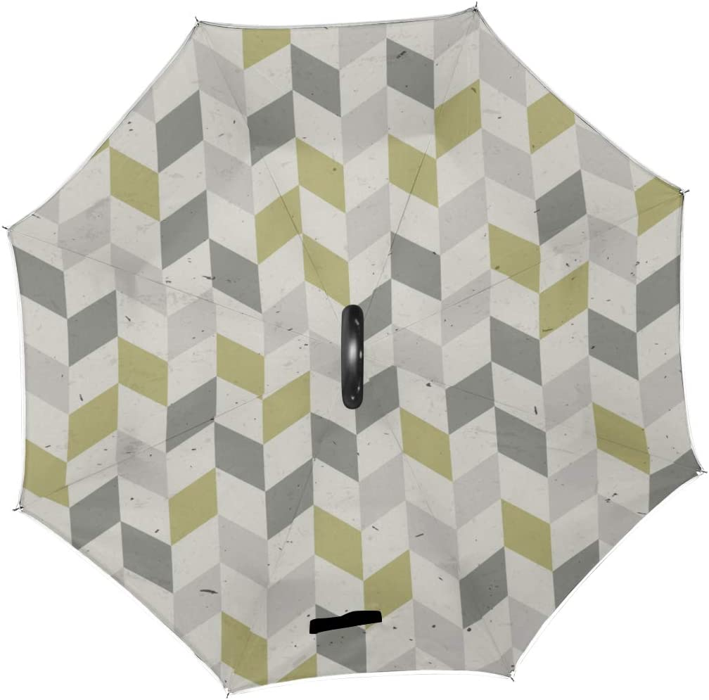 Double Layer Inverted Inverted Umbrella Is Light And Sturdy Pattern Rhombus Old Paper Reverse Umbrella And Windproof Umbrella Edge Night Reflection