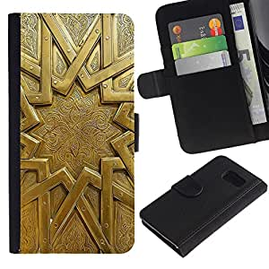 Planetar® Modelo colorido cuero carpeta tirón caso cubierta piel Holster Funda protección Para Samsung Galaxy S6 / SM-G920 ( Gold Emblem Metal Ancient Mystery Sun )
