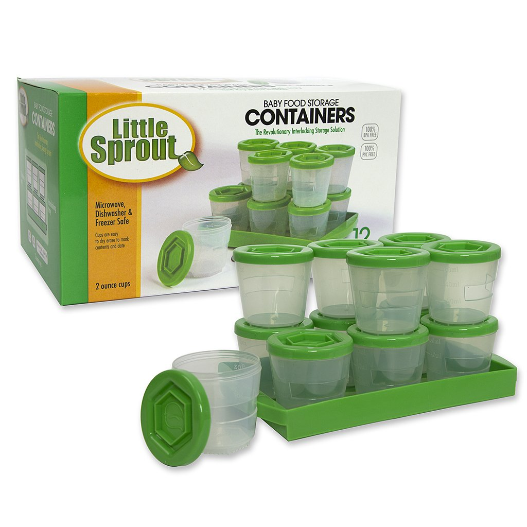 Baby Food Containers: Reusable Stackable Freezer Safe Storage Cups w/Tray & Dry-erase Marker (Set of 12-2oz) BPA & PVC Free- Green Sprout Cups NA