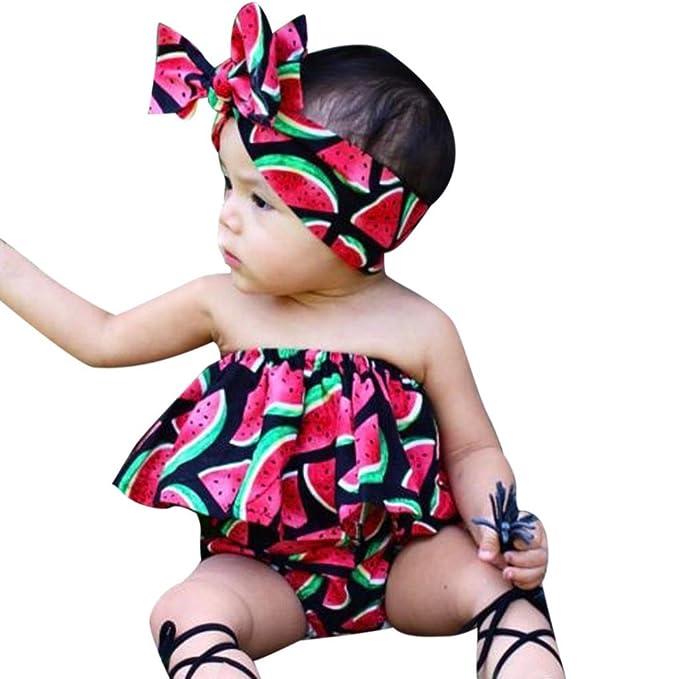 Switchali infantil Bebé Niña verano camisas casual moda Sandía chaleco + pantalones cortos + venda Conjuntos