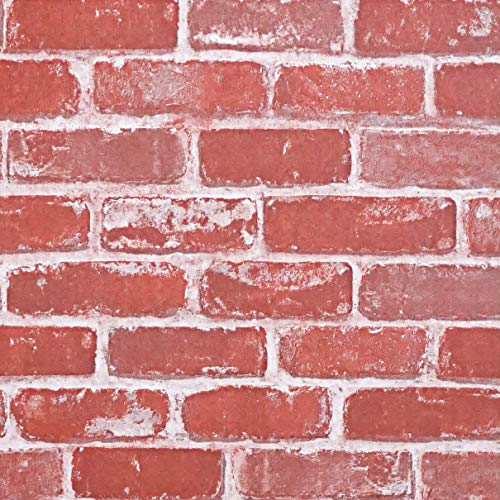 "Timeet Textured 3D Red Brick Wallpaper Peel and Stick Wallpaper Self Adhesive Wallpaper Faux Brick Wallpaper Removable Wall Paper Home Room Decor Vinyl Look Real 17.7""×197"""