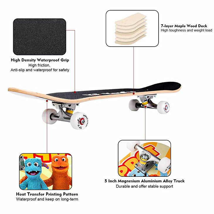 YF YOUFU Complete Skateboards, 31 inch Pro Skateboard for Boys/Girls/Kids/Youth/Adults