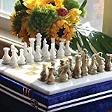 RADICALn 16 Inches Handmade White and Green Onyx Marble Full Chess Game Original Marble Chess Set