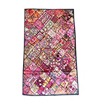 Mogul Pink Wall Hanging Embroidered Patchwork Kutch Wall Hanging Table Tapestry 75x48