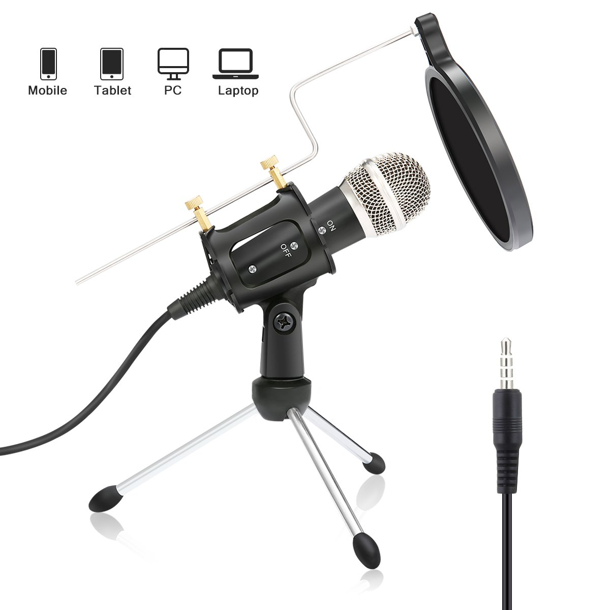 Condenser Microphone NASUM Portable Mini Recording Microphone with 3.5mm Plug &Play Home Studio Microphones for OnlineChat, Voice Recording,Tablets,Laptops,PC,YouTube,Google Voice Search by NASUM